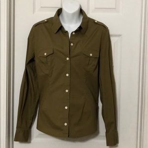 Button down fitted dress shirt Olive green size L